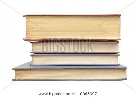 Pile of old books side view isolated on white