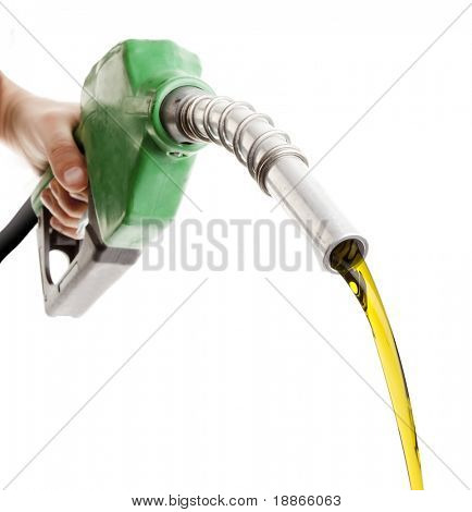 Male hand wasting gas with green pump isolated on white