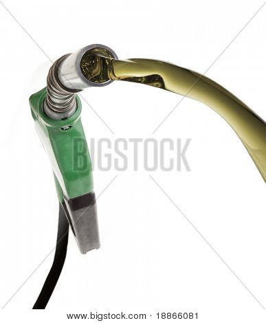 Green gas pump wasting oil with strong perspective isolated on white