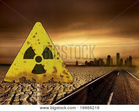 Signo de radiactividad y la ciudad