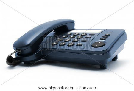 One black telephone isolated on white background