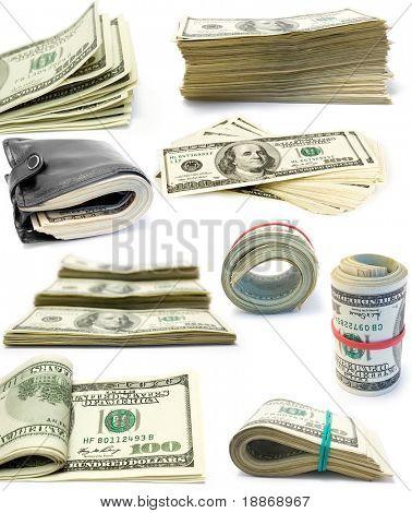 Colecção de pacotes de dólares isolados no fundo branco