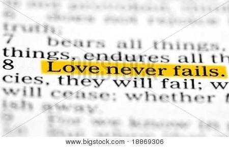 Love never fails. Corinthians 13 Holy bible