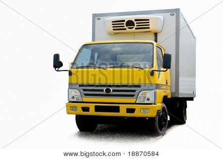 Small refrigerator truck on a white background