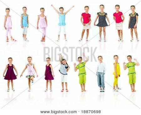 Collection photos of cute little girl in colored clothes