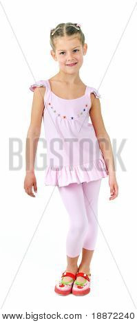 photo of cute little girl in colored clothes on white background