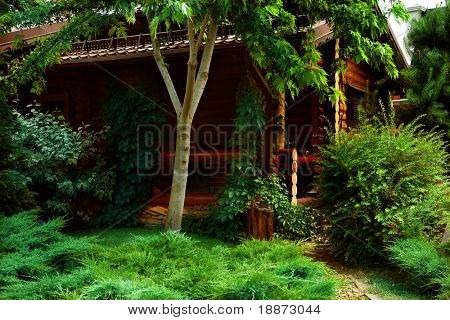 Small house for rest in wood