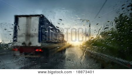 The trailer carries cargo during a storm