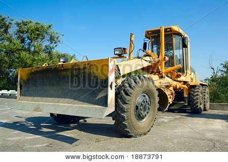 bulldozer in the parking lot.