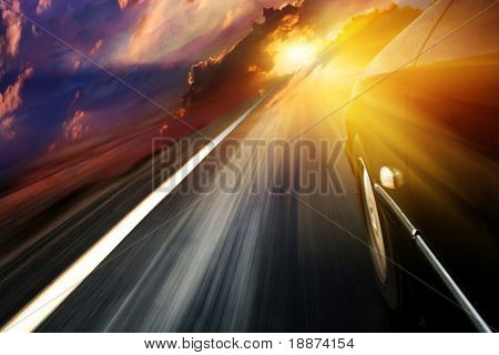 The car goes on a meeting to the sun
