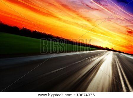 Summer landscape with old road