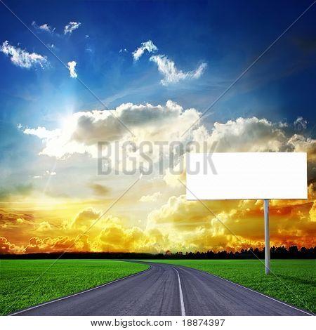 Highway and empty billboard