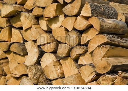 firewood split and stacked