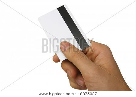 hand holding a magnetic card