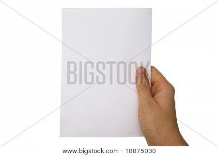 hand holding a paper sheet