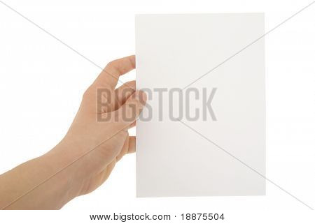 a hand holding blank paper sheet