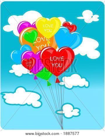 Coração em forma de balões