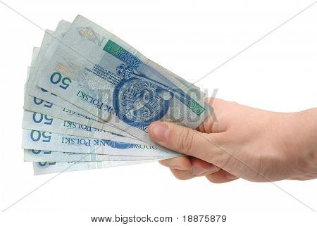 isolated photo of hand holding money