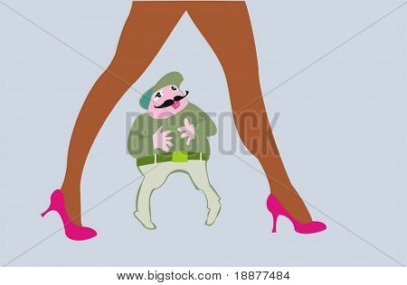 caricature vector image of lustful looking