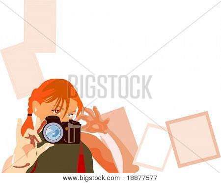 vector image of young pretty photographer witn white area for your photo, text and etc. Good use for design your family photos
