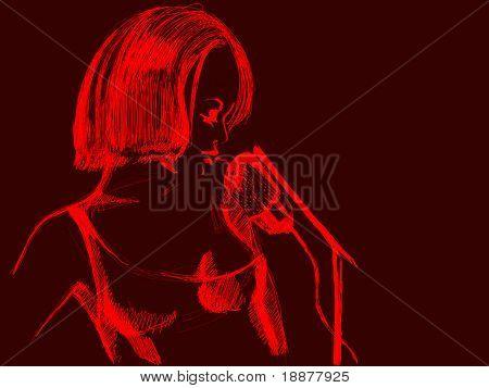 rough image of singing woman