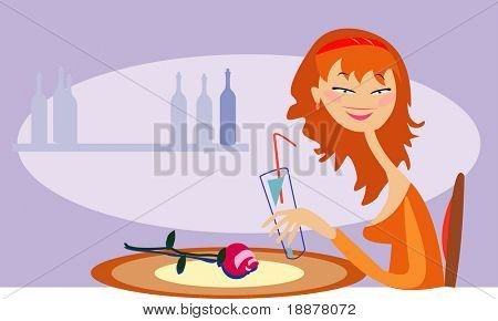 vector image of funny lonely girl in cafe