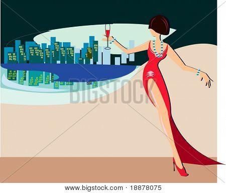vector illustration of stranger girl in red evening dress