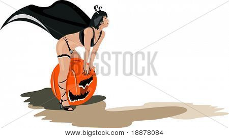 vector image of sexy halloween witch
