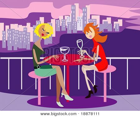 vector image of two girls at the restaurant