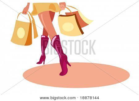 imagem vetorial de compras a pé