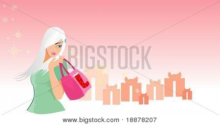vector image of young woman looking for shopping. many free space for your info. good use for christmas sales and retails