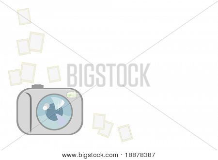 vector image of easy digital camera witn white area for your photo, text and etc. Good use for design your family photos