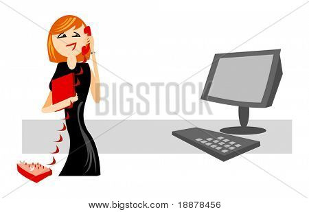 smiling operator of online support service. good use for online services