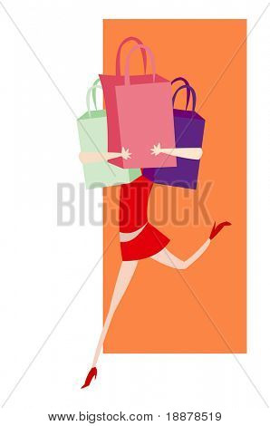 simple vector image of female with few store bags