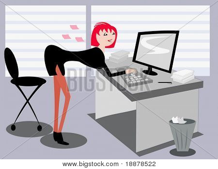 vector image of sexy posing operator of online support service. may be use for online services