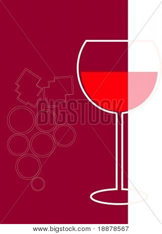 vector image of bocal with red wine