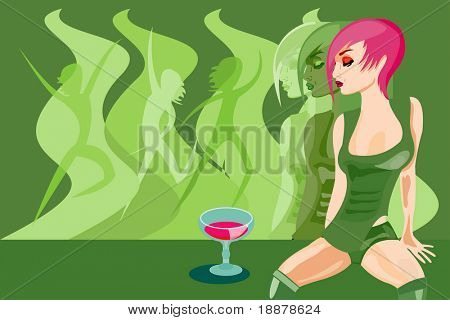 vector image of sexy woman. good use like background for party and disco cards and posters