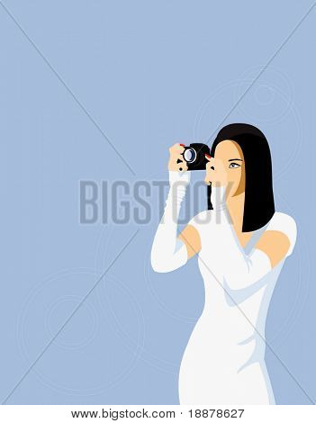 vector image of stylish photogrepher in skin-tight white dress
