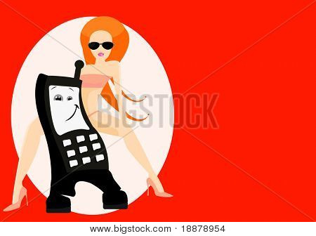 vector image of cellphone and woman. good use for gprs service cards