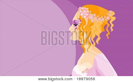 vector image of girl in mask. may be use for carnival cards and posters