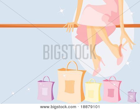vector image of sitting girl after shopping