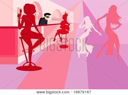 vector image of dancing girls in bar
