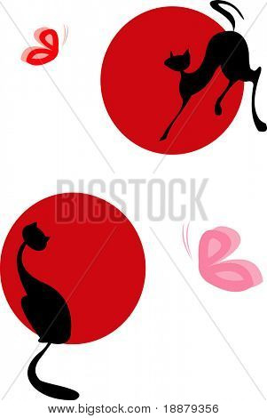 vector image of cats and butterfly