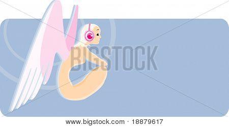 vector image of angel girl