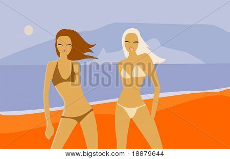 vector image of two women. good use for beach party