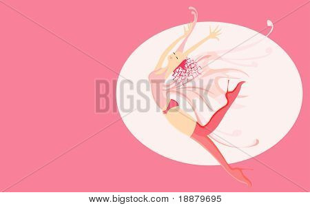 vector image of free fall of butterfly-girl