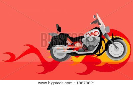 vector image of motorcycle with flame