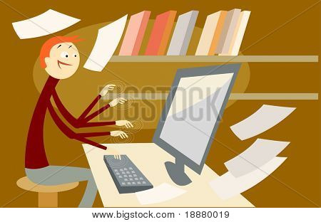 vector image of secretary at work