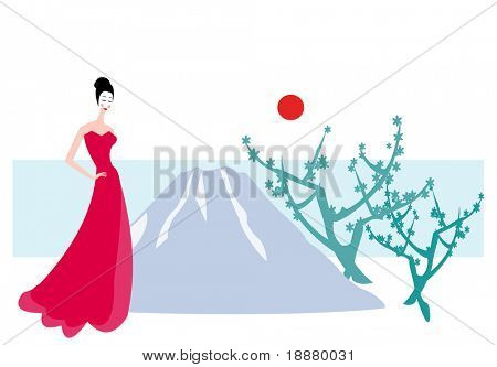 vector image of woman near Sakura Blossom with Fuji mountain like background
