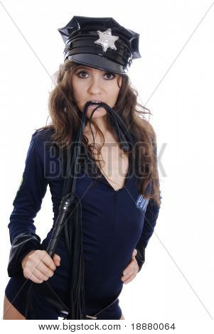 woman playing role of bad police-officer for disco party. isolated on white